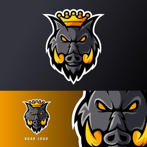Rei zangado porco animal javali ou esport jogo mascote logotipo modelo para equipe de flâmula Vetor Premium