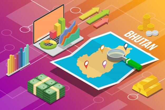 Reino do butão isométrica negócios economia crescimento país Vetor Premium