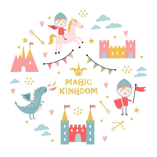 Reino mágico. dragão, castelo, cavaleiro. Vetor Premium