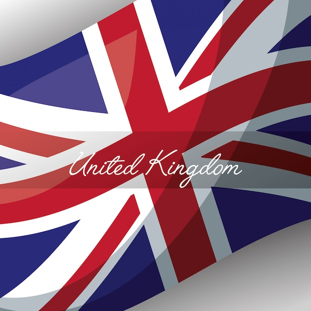 Reino unido coloca a bandeira Vetor Premium