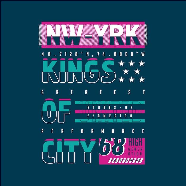 Reis da cidade tipografia gráfica design para impressão pronta camiseta Vetor Premium