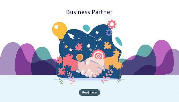 Relação de parceria de negócios com shake de mão e caráter de pessoas pequenas. conceito de trabalho em equipe. Vetor Premium