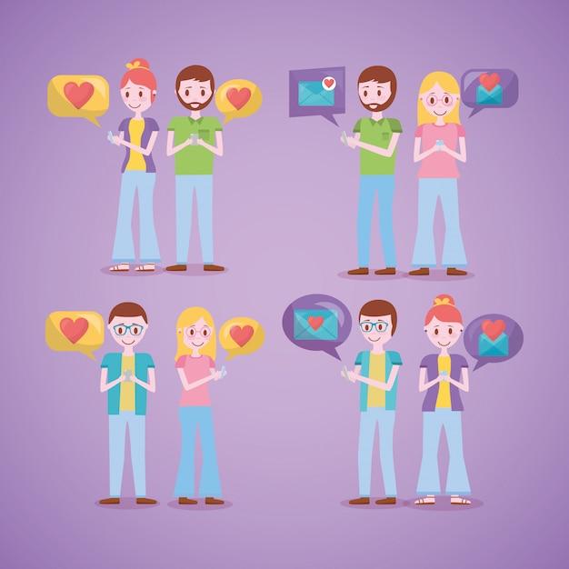 Relacionado com o amor para celular Vetor grátis