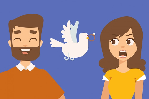 Relacionamento dos pares, personagens de desenhos animados engraçados, ilustração. proposta de casamento romântico, rindo namorado e namorada surpresa. casal dos desenhos animados no encontro Vetor Premium