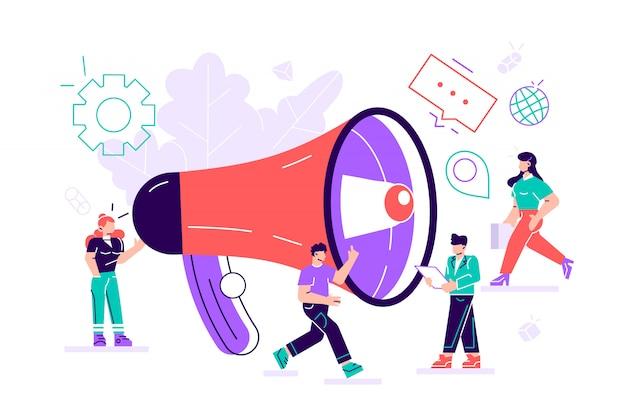 Relações públicas e assuntos, equipe de marketing trabalha com megafone enorme, alerta de publicidade, propaganda, balões de fala, promoção de mídia social. Vetor Premium