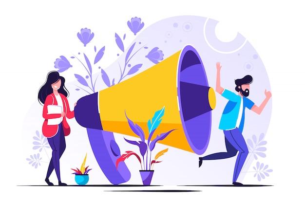 Relações públicas e relações, comunicação Vetor Premium