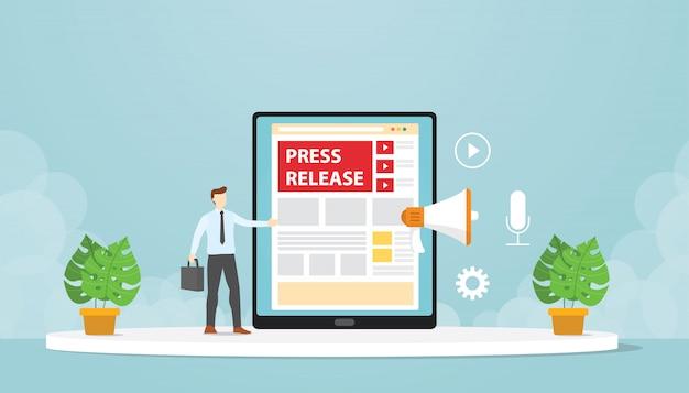 Relações públicas fazem comunicados de imprensa através de blogs da empresa. projeto moderno dos desenhos animados plana. Vetor Premium