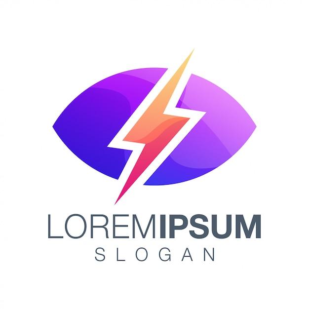 Relâmpago inspiração gradiente cor logotipo Vetor Premium