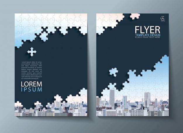 Relatório anual, folheto, modelos de capa. imagem de quebra-cabeça. Vetor Premium