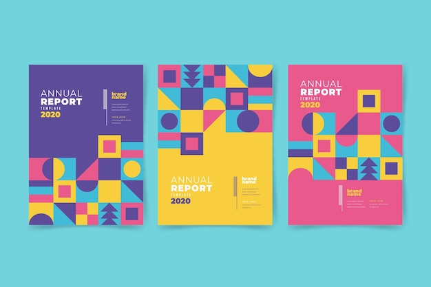 Relatório anual geométrico colorido Vetor grátis