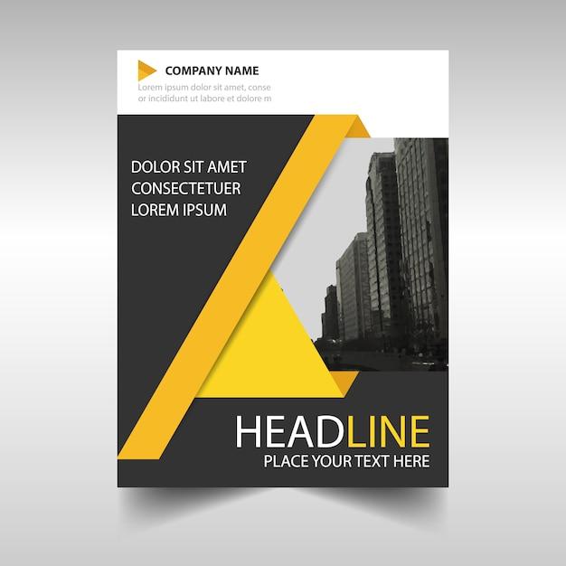 relatório anual modelo da capa do livro amarelo e preto Vetor grátis