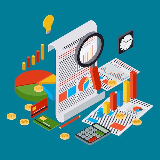 Relatório comercial, estatística financeira, gestão, conceito de ...