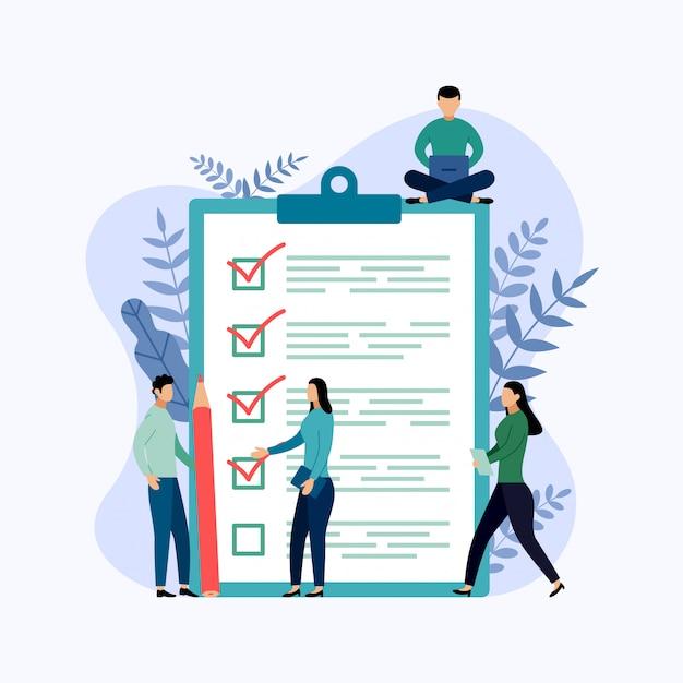 Relatório de pesquisa, lista de verificação, questionário, ilustração de negócios Vetor Premium