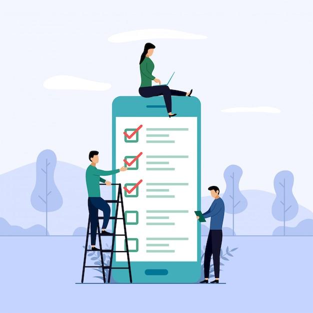 Relatório de pesquisa on-line, lista de verificação, questionário, ilustração do conceito de negócio Vetor Premium