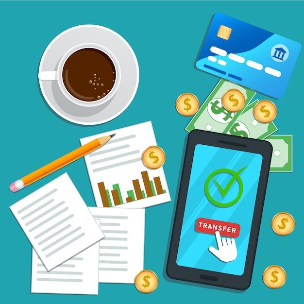 Relatório fiscal. smartphone plano com o ponteiro do cursor clicando no botão de transferência na tela. Vetor Premium