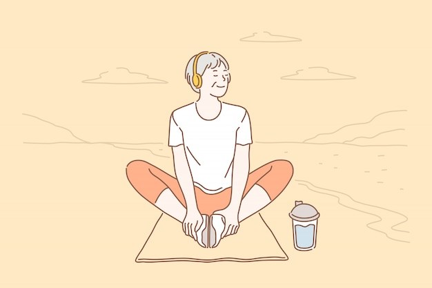 Relaxamento, estilo de vida, saúde Vetor Premium