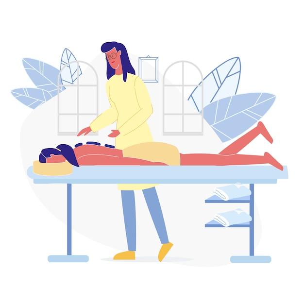Relaxante massagem terapêutica plana vector illustration Vetor Premium