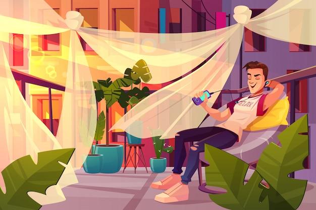 Relaxe e chill out no conceito de vetor de azáfama cidade dos desenhos animados. Vetor grátis