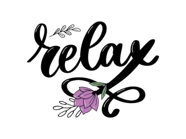 Relaxe letras Vetor Premium
