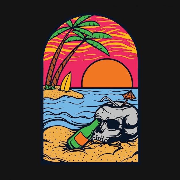 Relaxe na praia t-shirt design Vetor Premium