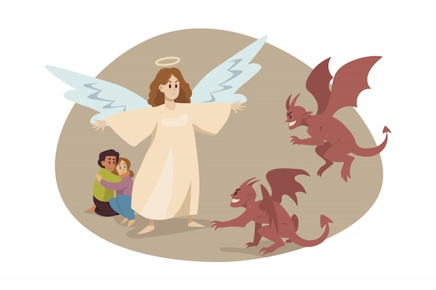 Religião do cristianismo, conceito de diabo de proteção. Vetor Premium
