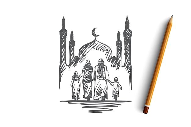 Religião, família, muçulmano, árabe, islã, conceito de mesquita. mão-extraídas família muçulmana tradicional com esboço do conceito de crianças. Vetor Premium