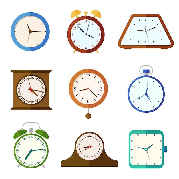 Relógio de parede e despertadores, ícones lisos tempo Vetor Premium