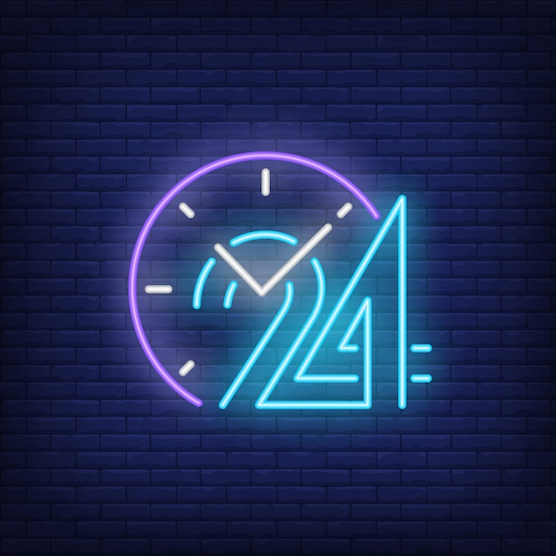 Relógio, e, vinte, quatro horas, sinal néon Vetor grátis