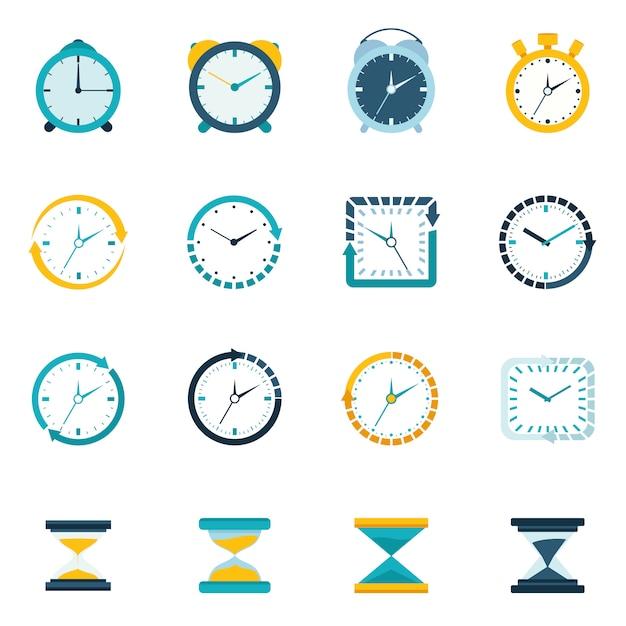 Relógio, ícone, apartamento, jogo Vetor Premium