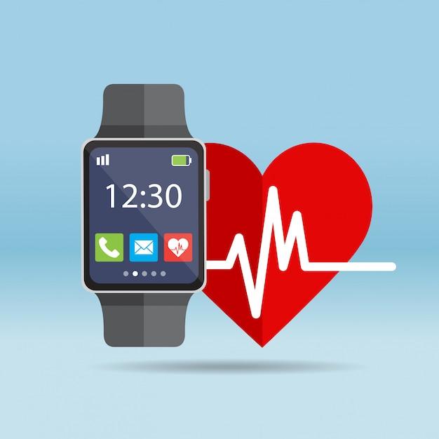 Relógio inteligente com ícone de frequência cardíaca Vetor Premium
