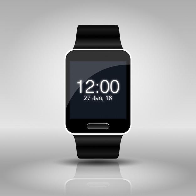 Relógio inteligente mock up isolado no branco Vetor Premium