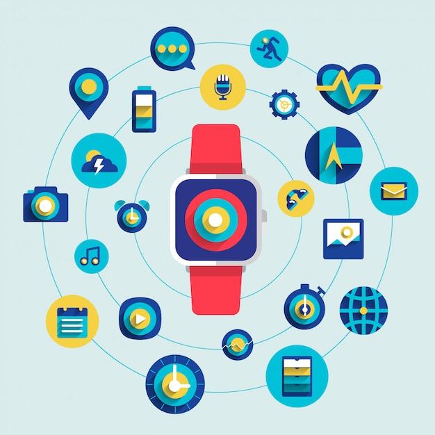 Relógio inteligente Vetor Premium