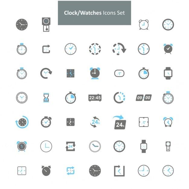 Relógio relógios conjunto de ícones Vetor grátis