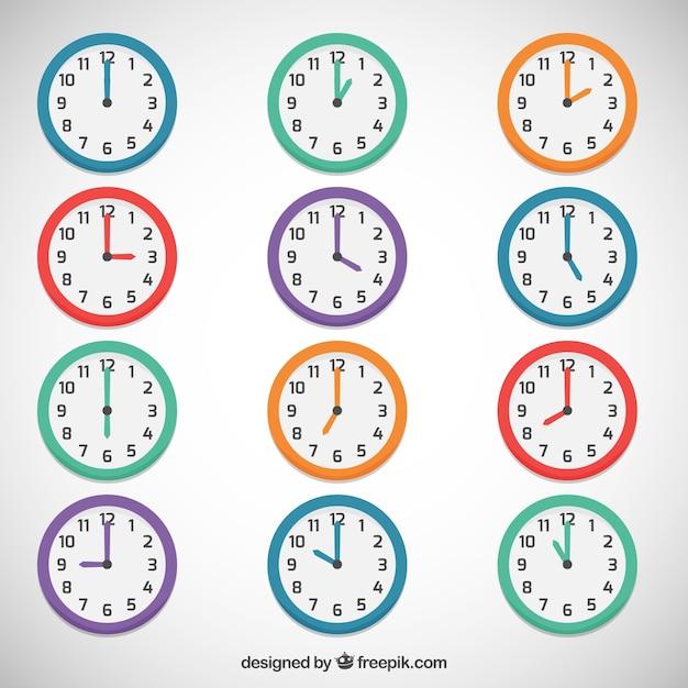 Relógios coloridos Vetor Premium