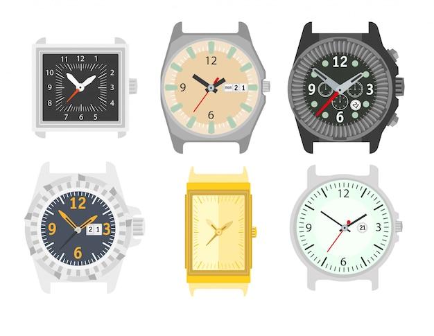 Relógios definido. acessório elegante para homens. Vetor Premium
