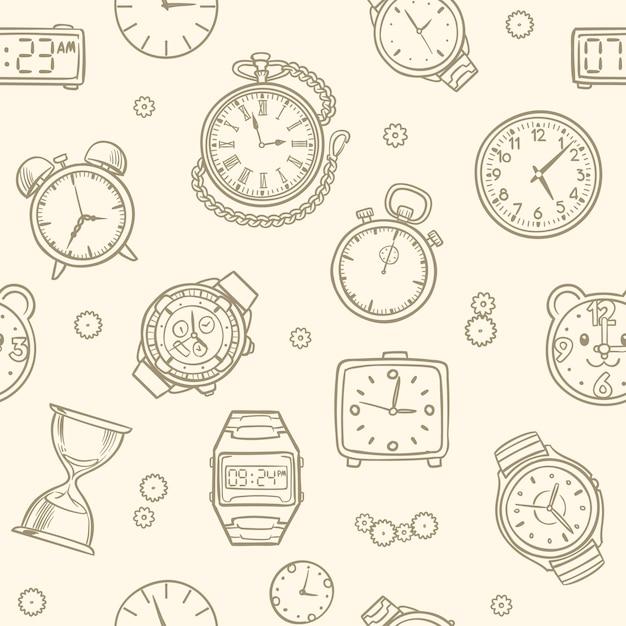 Relógios e relógios desenhados mão do vintage. padrão sem emenda de vetor de tempo. ilustração do desenho do relógio, padrão sem emenda de tempo Vetor Premium