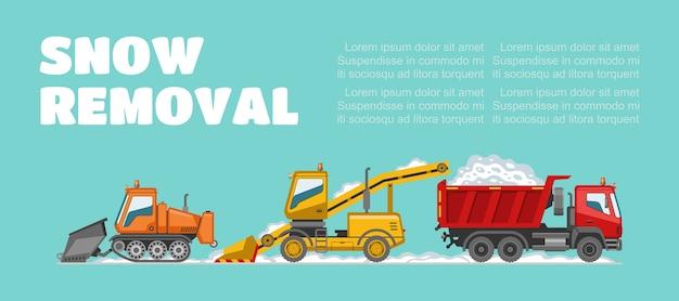 Remoção de neve, inscrição, informações básicas, clima de inverno, veículos de remoção de neve, ilustração. caminhão grande, clima frio, limpando a cidade dos efeitos da queda de neve. Vetor Premium