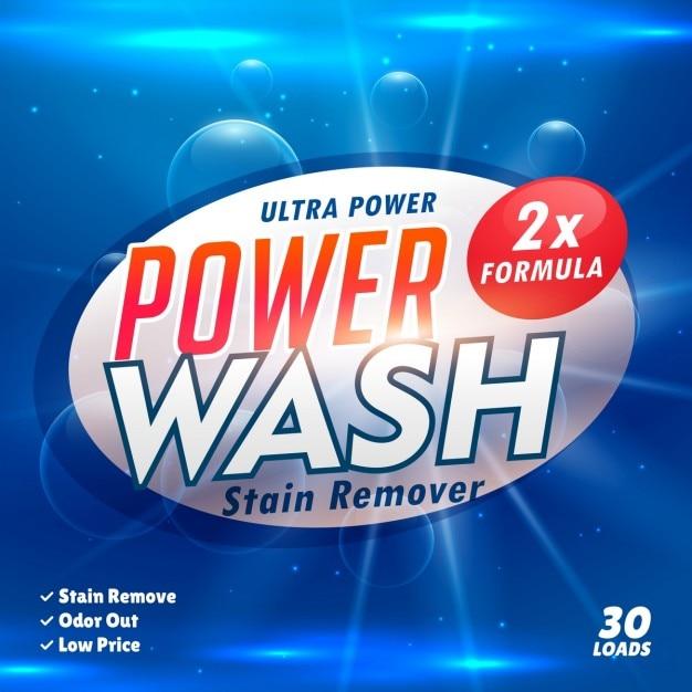 Removedor de manchas de lavanderia modelo de produto detergente concepção Vetor grátis
