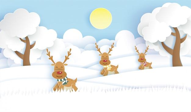 Rena bonita na floresta de neve para o fundo de natal em estilo de corte e artesanato de papel. Vetor Premium