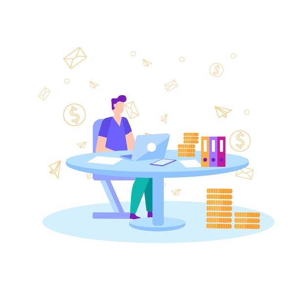Renda de lucro bancário métrica de negócio plano Vetor Premium