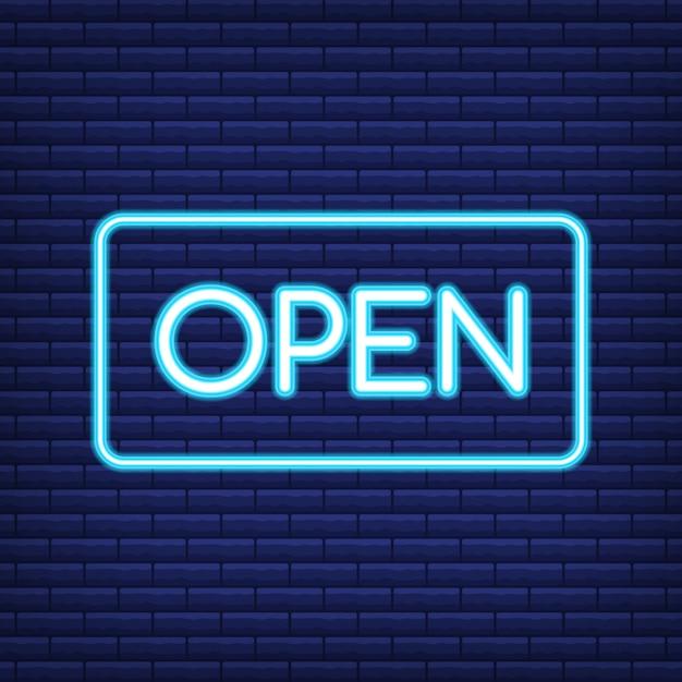 Rendição da placa 3d do sinal de néon. sinal aberto de néon. Vetor Premium