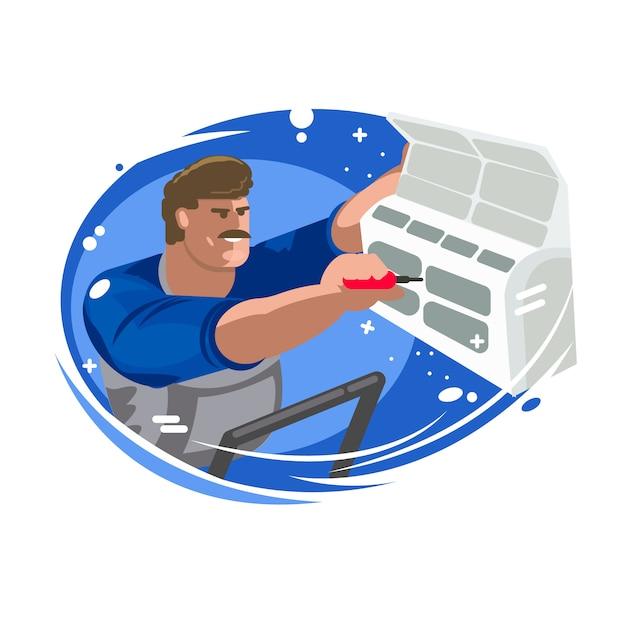 Reparação de aparelhos de ar condicionado. manutenção e instalação de sistemas de refrigeração. Vetor Premium
