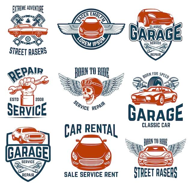 Reparação de automóveis, garagem, emblemas de serviço automóvel. elementos de logotipo, etiqueta, sinal. imagem Vetor Premium