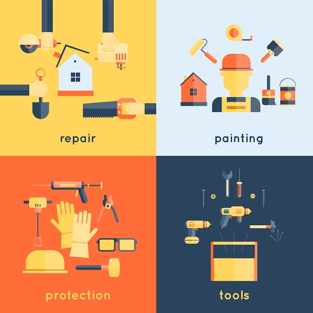 Reparação em casa ferramentas de construção de pincel de pintura fita métrica plana ícones composição design ilustração vetorial Vetor grátis