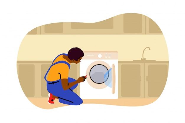 Reparação, lavanderia, trabalho, conceito de substituição Vetor Premium