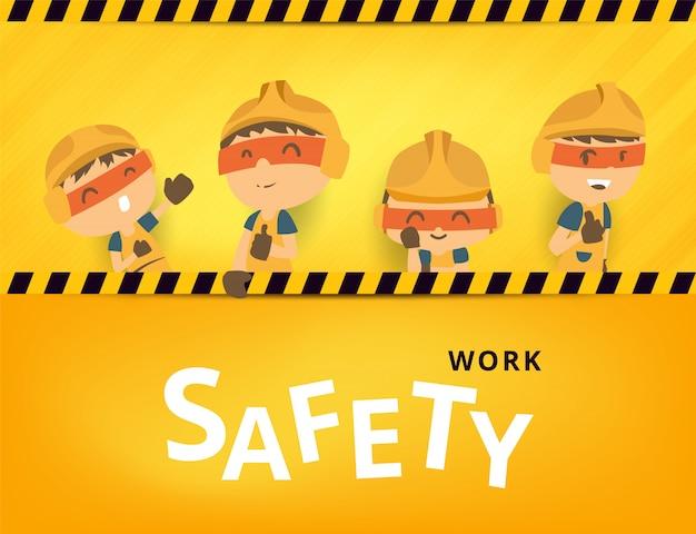 Reparador de trabalhador de construção com grande tabuleta, segurança em primeiro lugar, saúde e segurança, ilustrador Vetor Premium