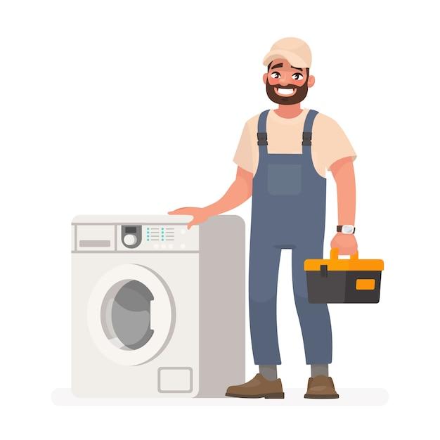 Reparador feliz e máquina de lavar Vetor Premium