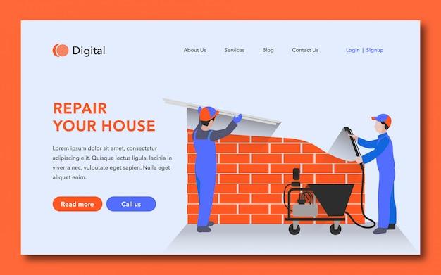 Reparar o design da sua página de destino da sua casa Vetor Premium
