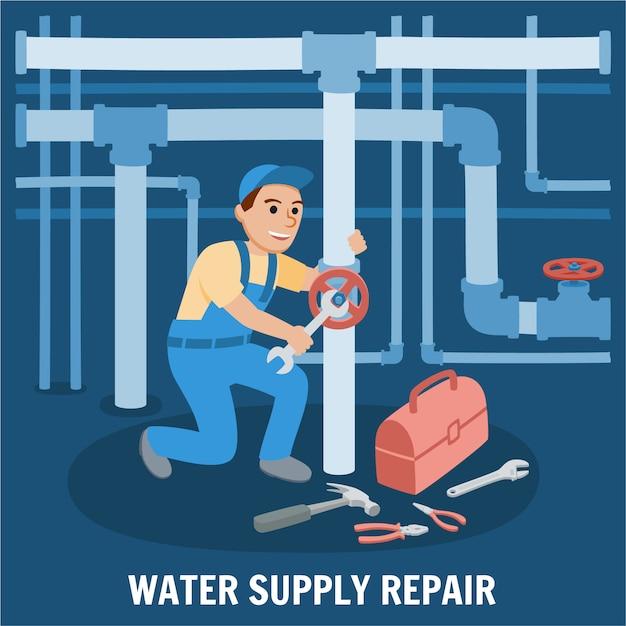 Reparo de abastecimento de água Vetor Premium