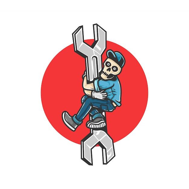 Reparo de carros. crânio humano subir a chave. elementos de design para cartaz, emblema, sinal, camiseta. ilustração vetorial Vetor Premium